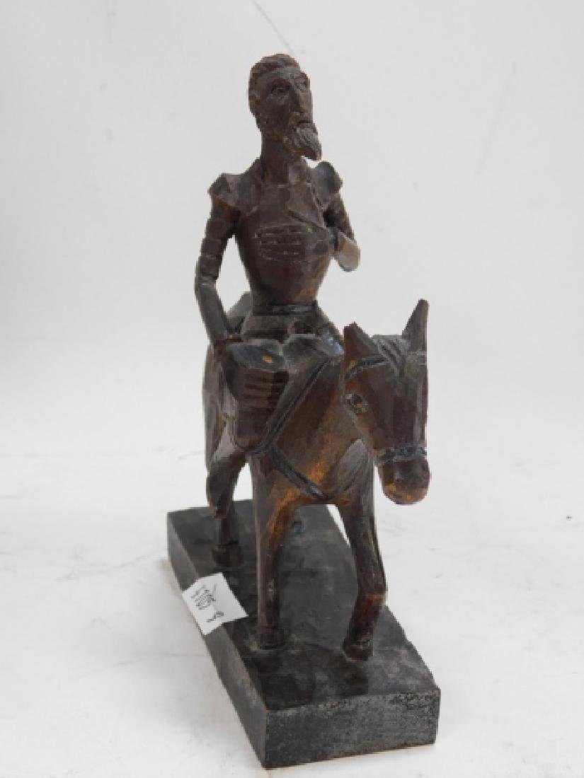 BRONZE FIGURE WITH TWO WOOD CARVED FIGURES - 8