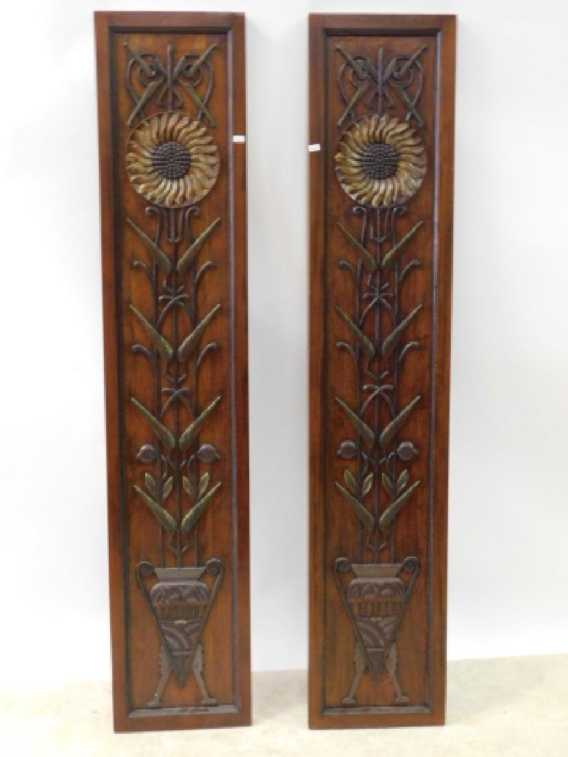 PAIR OF WOOD CARVED DECORATIVE PANELS