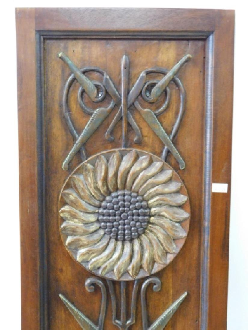 PAIR OF WOOD CARVED DECORATIVE PANELS - 2