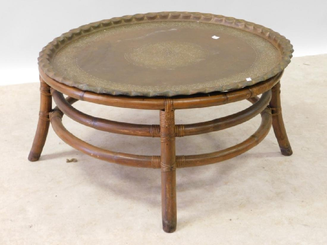 BRASS AND RATTAN COFFEE TABLE