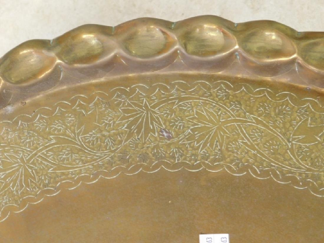BRASS AND RATTAN COFFEE TABLE - 3