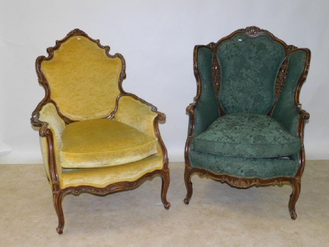 PAIR OF UPHOLSTERED FRENCH ARM CHAIRS