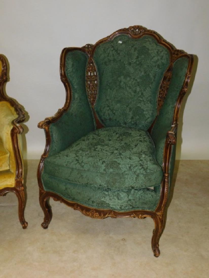 PAIR OF UPHOLSTERED FRENCH ARM CHAIRS - 2