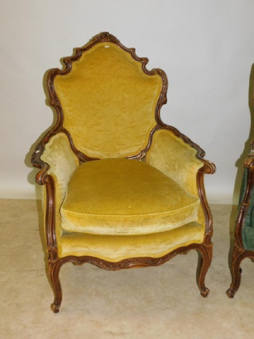 PAIR OF UPHOLSTERED FRENCH ARM CHAIRS - 3