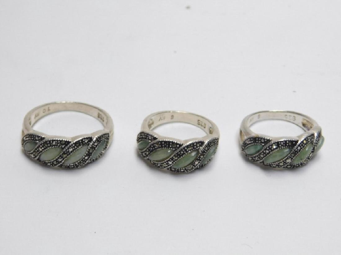 THREE STERLING SILVER RINGS WITH MARCASITE