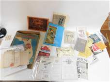 COLLECTION OF PAPER WORK AND ADVERTISMENTS