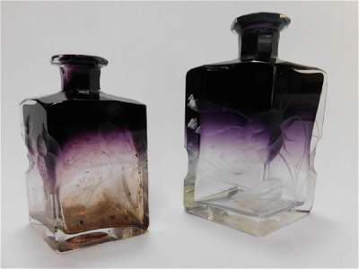 TWO AMETHYST HARRACH INTAGLIO PERFUME BOTTLES