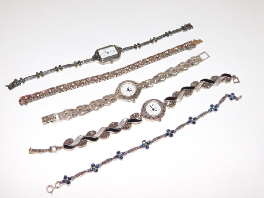 FIVE STERLING SILVER BRACELETS AND WATCHES