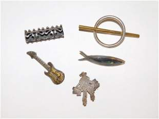 FIVE STERLING SILVER PINS