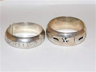 TWO MEXICAN SILVER BRACELETS