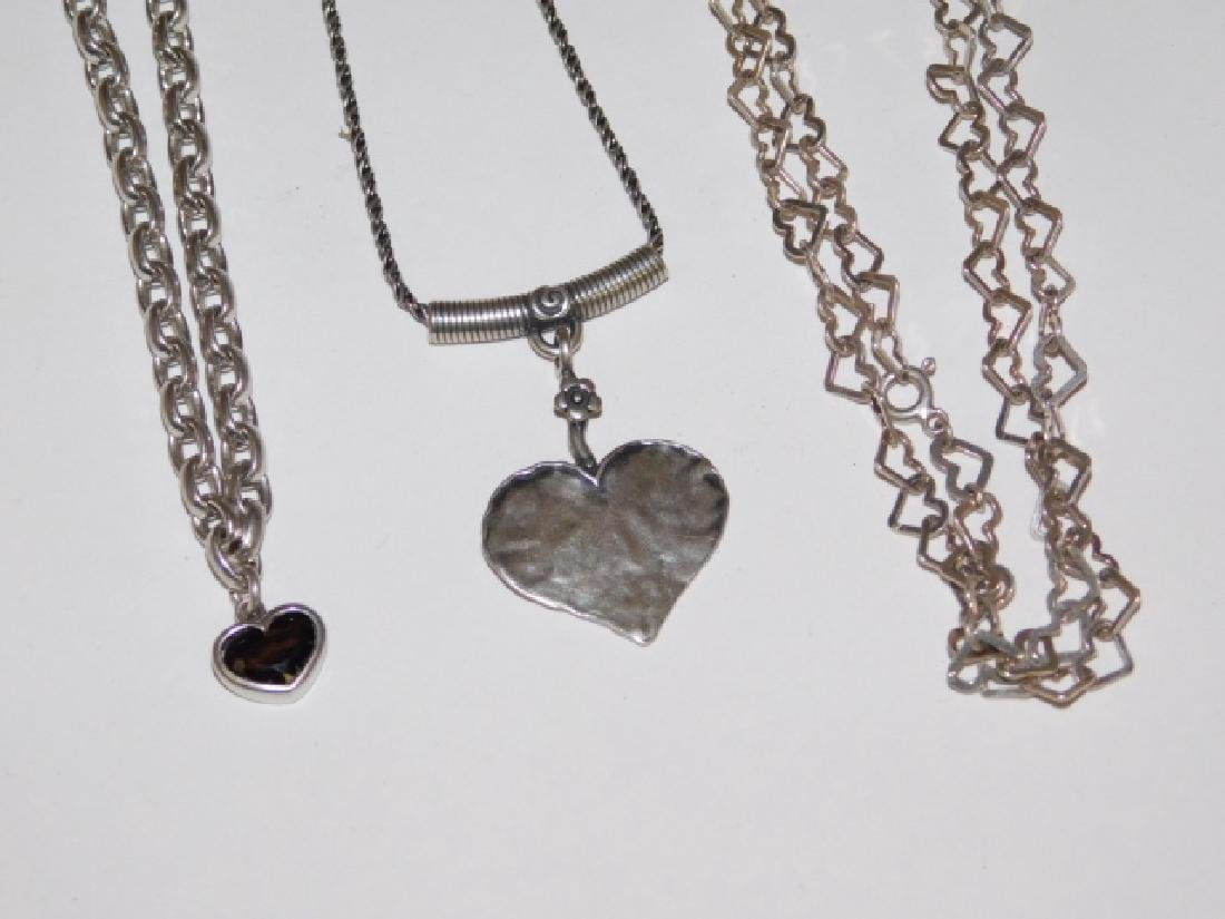 THREE STERLING SILVER NECKLACES