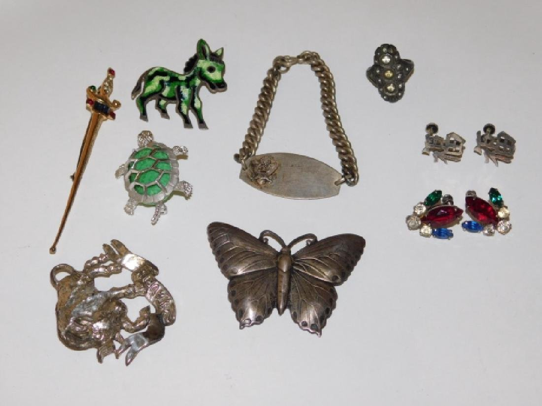 LOT OF STERLING SILVER PINS, HAT PIN, AND BRACELET - 2