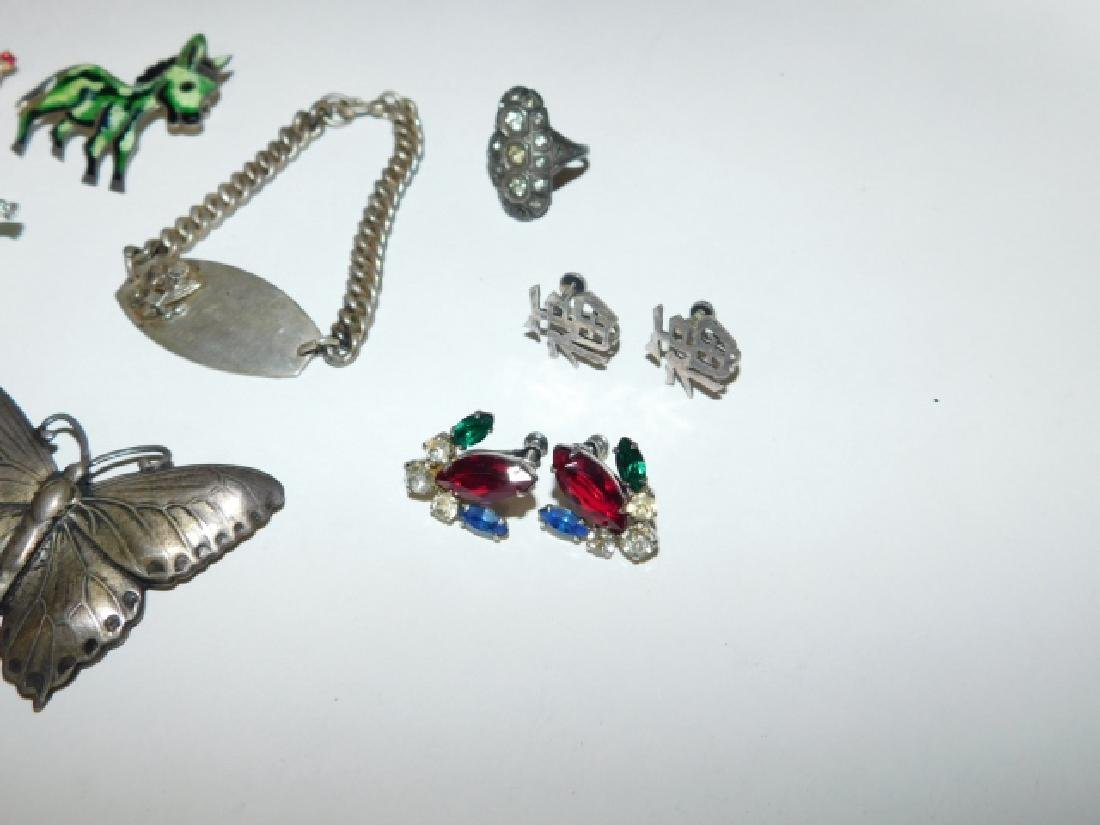 LOT OF STERLING SILVER PINS, HAT PIN, AND BRACELET - 3