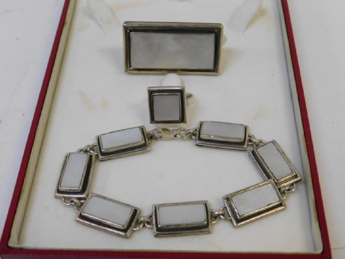 STERLING SILVER BRACELET, RING, AND PIN