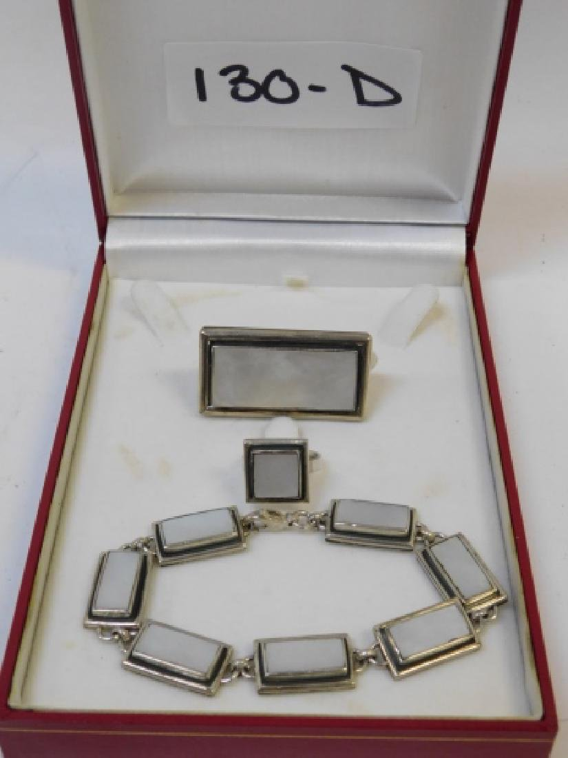 STERLING SILVER BRACELET, RING, AND PIN - 2