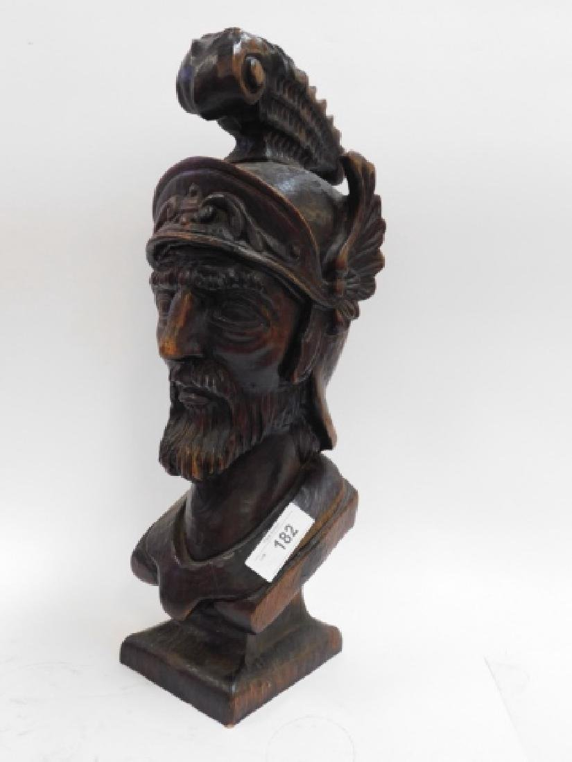 HAND CARVED BUST OF ROMAN SOLDIER