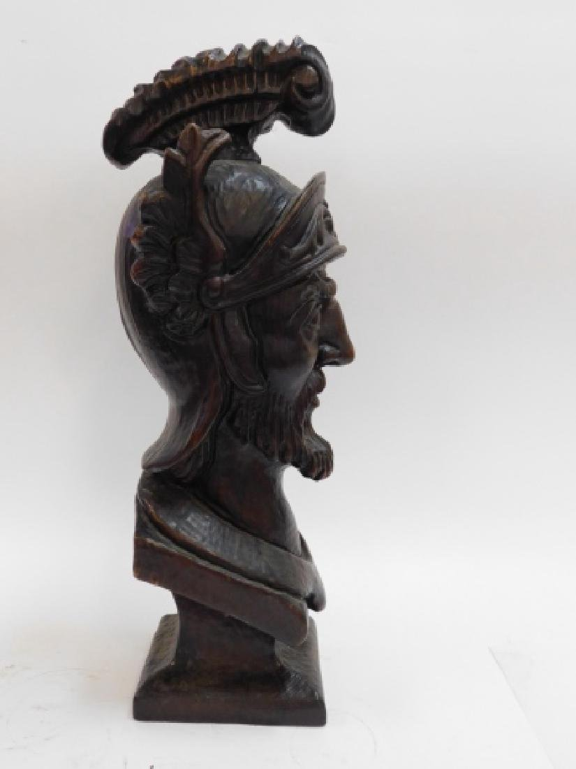 HAND CARVED BUST OF ROMAN SOLDIER - 2
