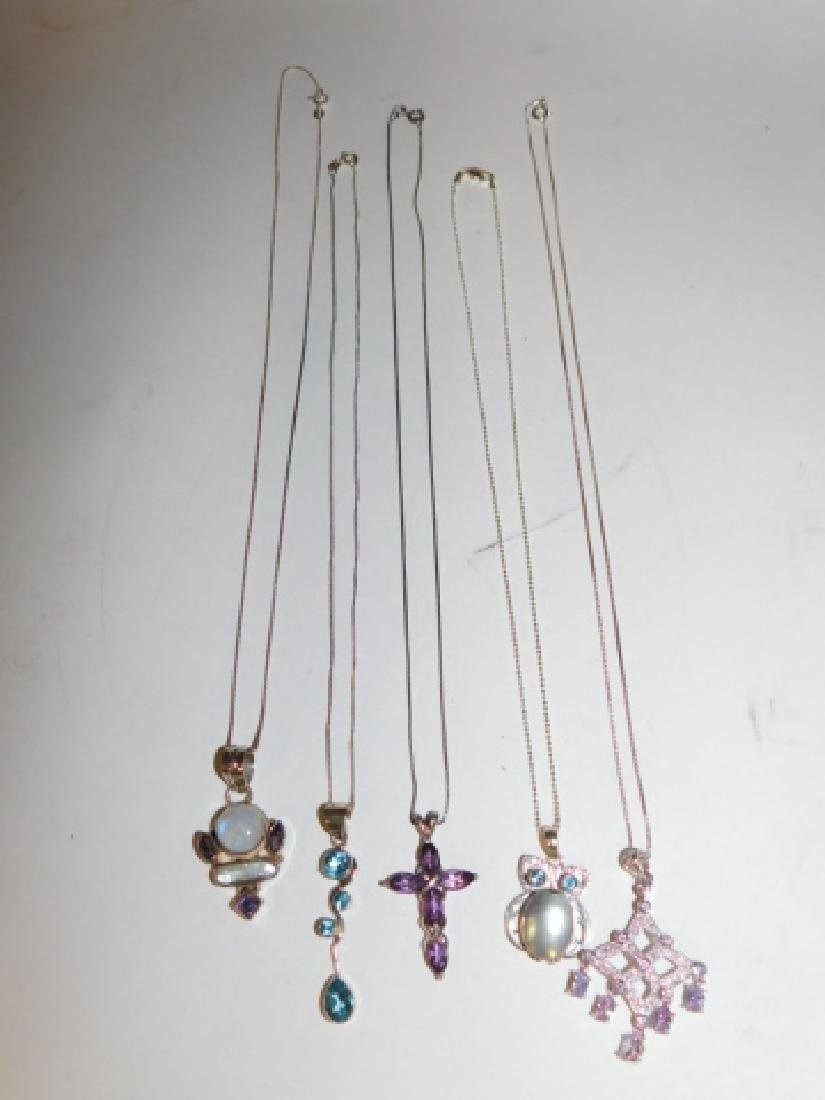 FIVE STERLING SILVER NECKLACES - 2