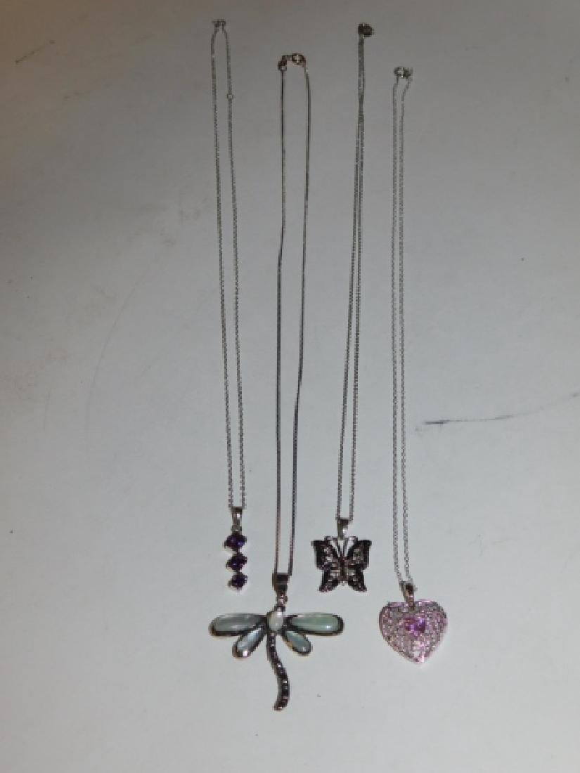 FOUR STERLING SILVER NECKLACES - 2