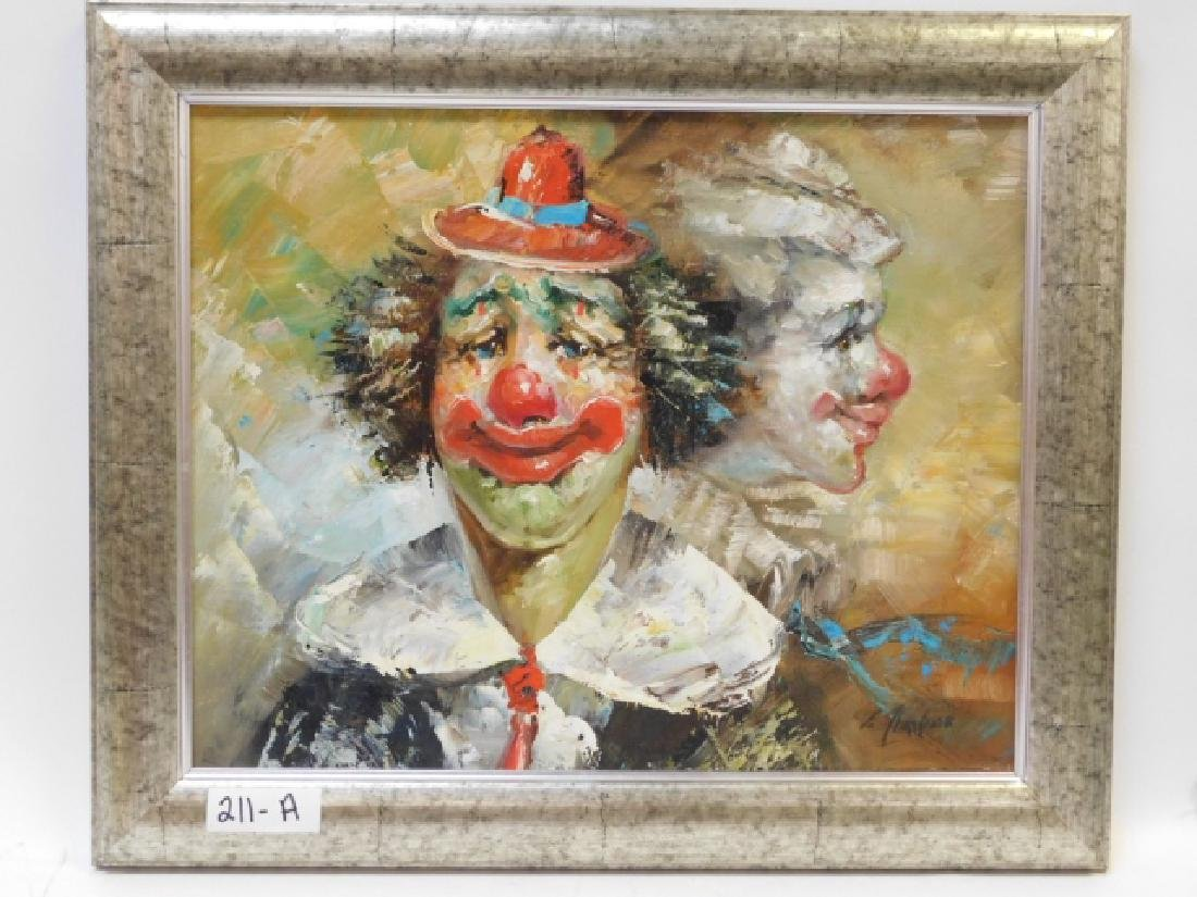 OIL ON CANVAS CLOWN