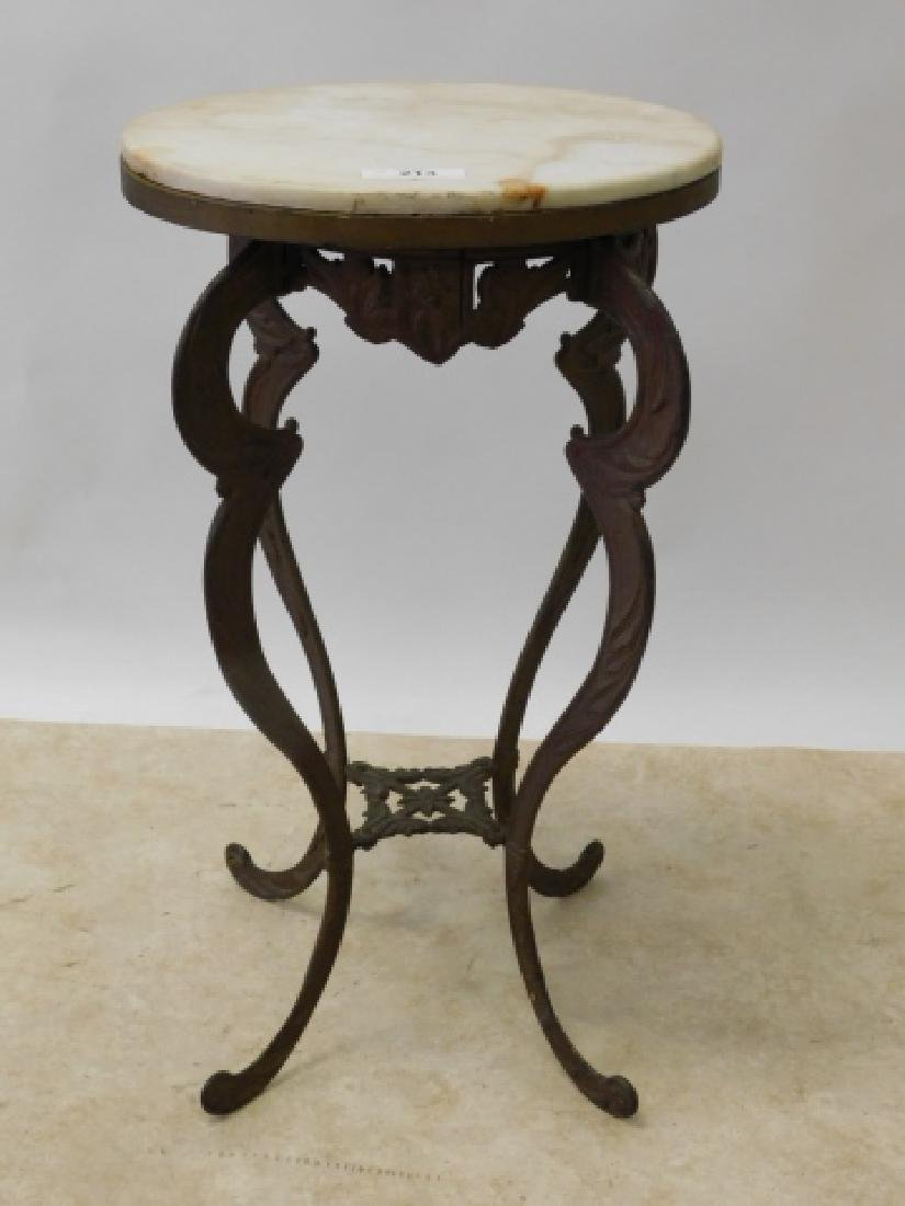 IRON  END TABLE WITH MARBLE TOP