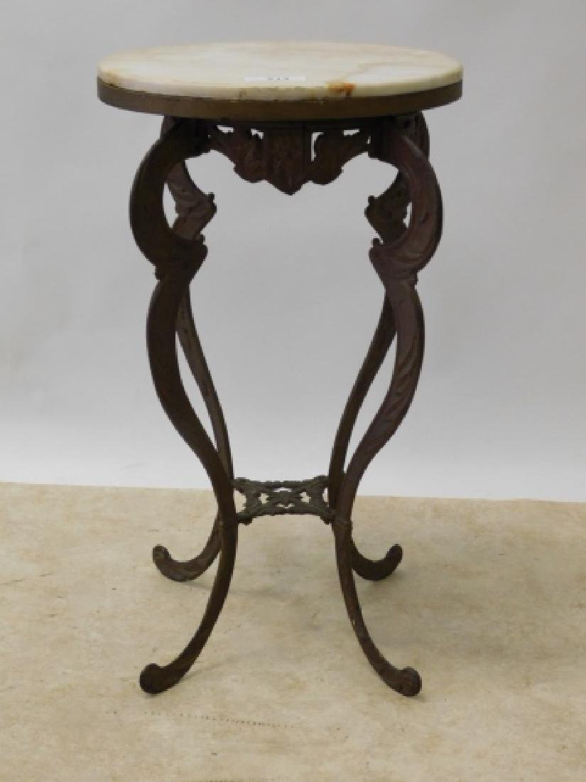 IRON  END TABLE WITH MARBLE TOP - 2