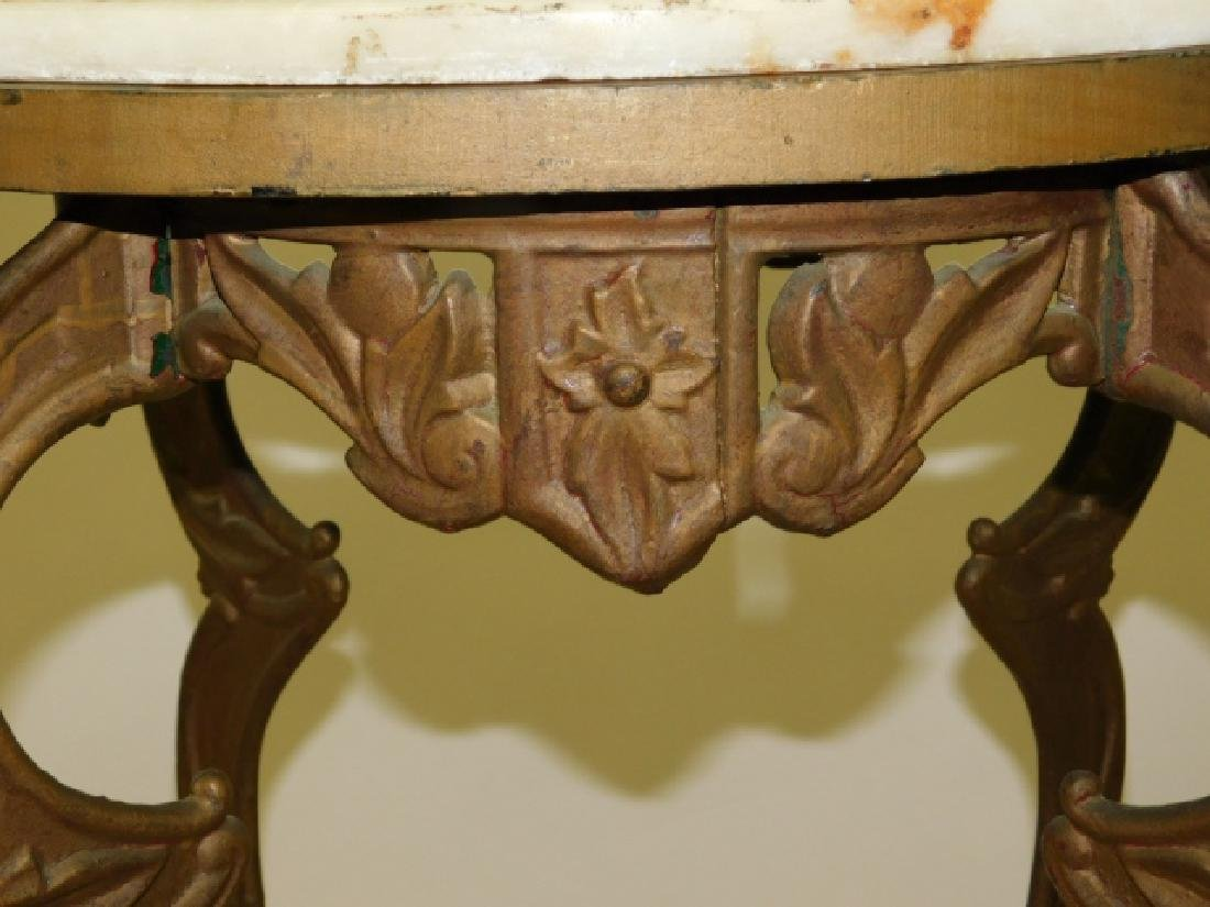 IRON  END TABLE WITH MARBLE TOP - 3