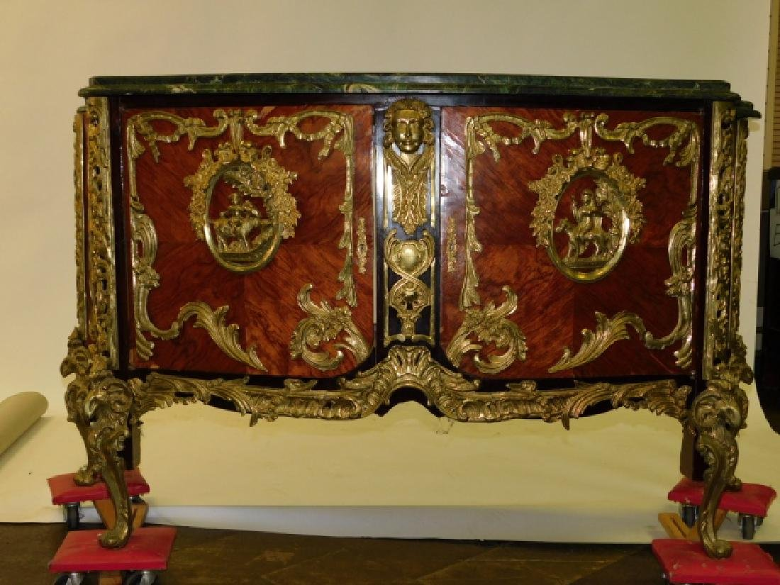 INLAID BRONZE MOUNT MARBLE TOP SERVER