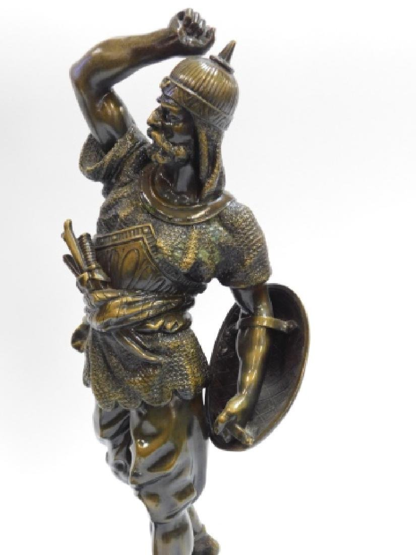 PAIR OF METAL STATUES AND WOOD BASE - 3