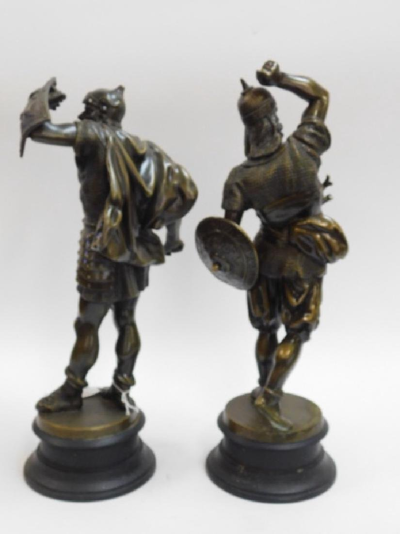 PAIR OF METAL STATUES AND WOOD BASE - 4