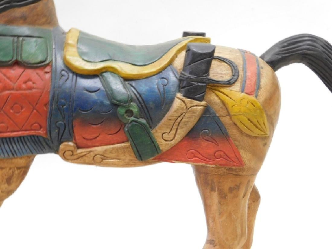 CARVED WOOD HORSE - 3