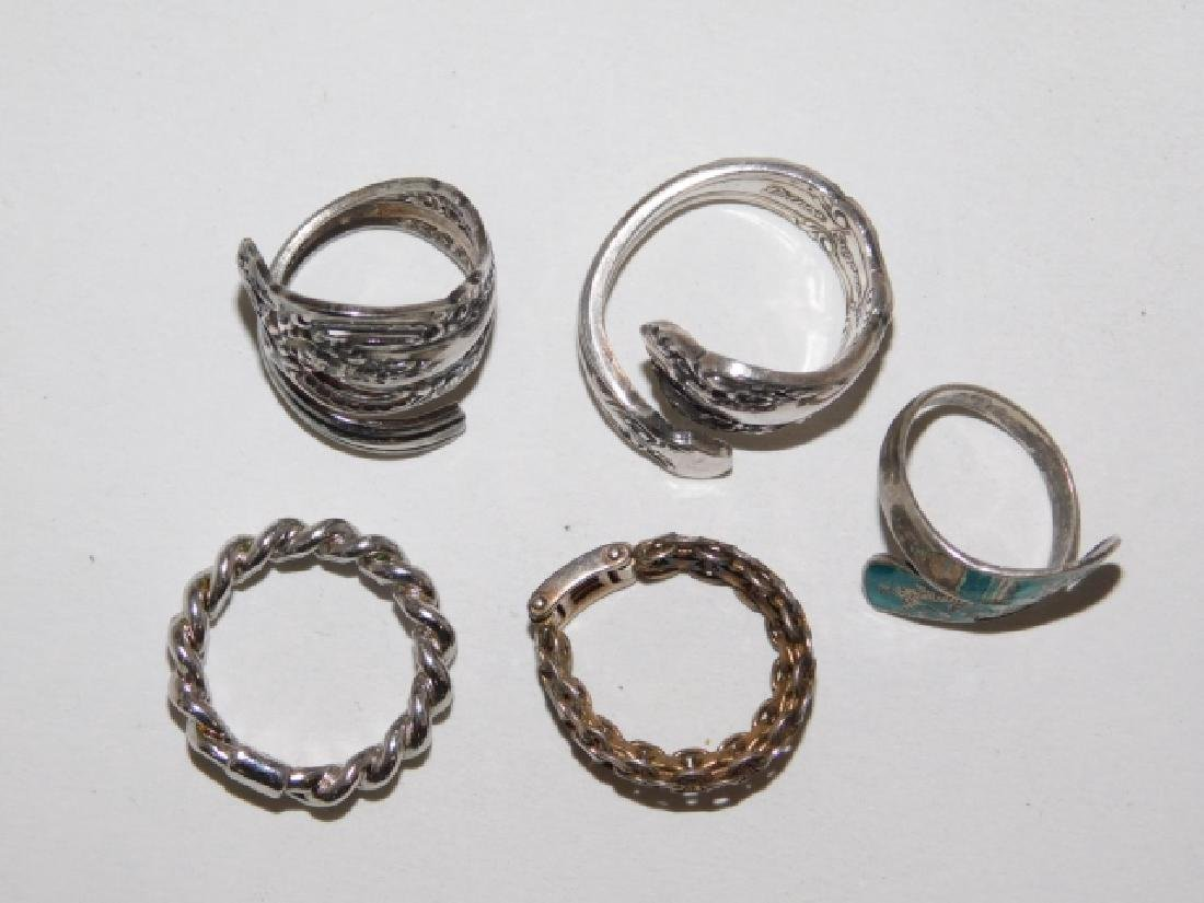 FIVE STERLING SILVER RINGS - 2