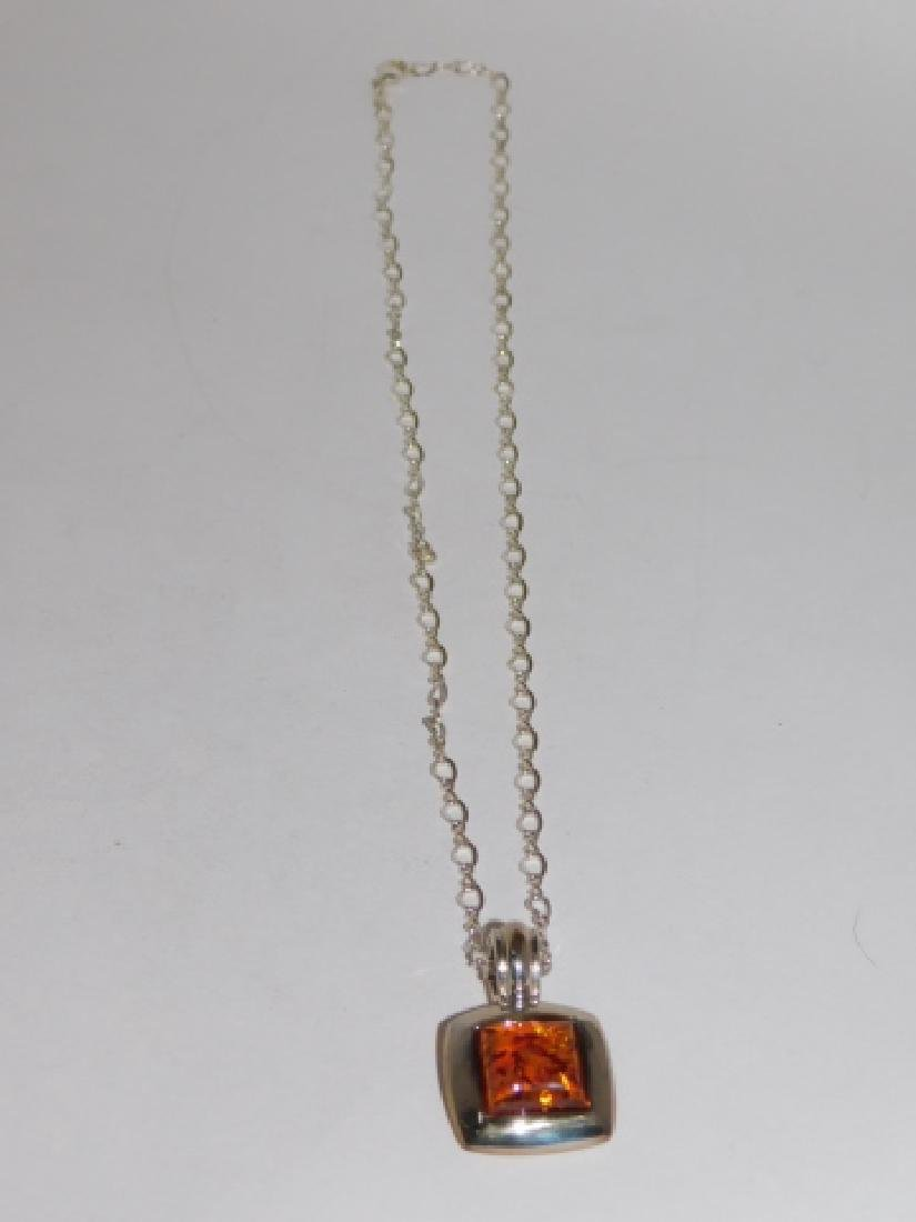 STERLING SILVER CHAIN WITH AMBER STONE PENDANT - 2