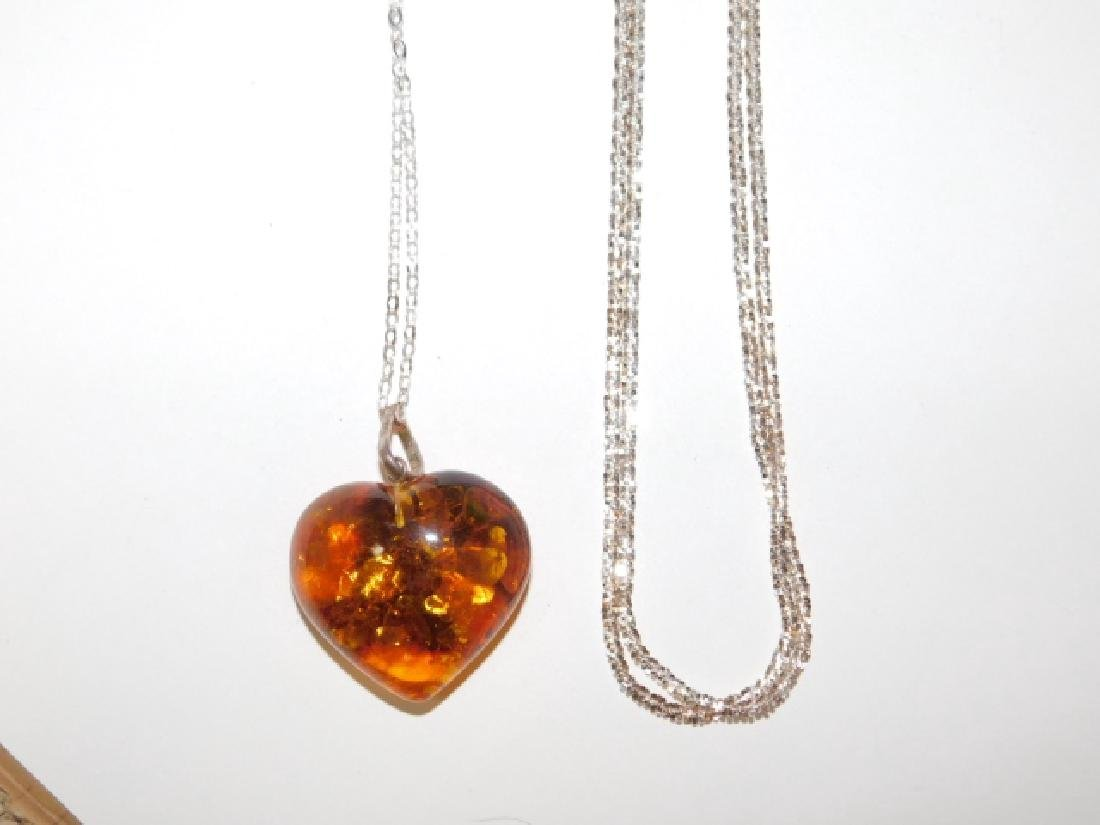 TWO STERLING SILVER CHAINS WITH AMBER PENDANT - 2