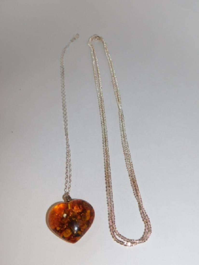 TWO STERLING SILVER CHAINS WITH AMBER PENDANT - 3