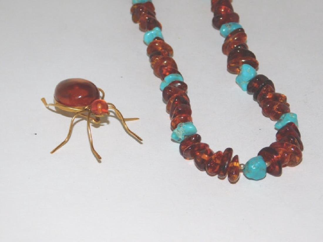 STERLING AND AMBER STONE NECKLACE WITH PIN