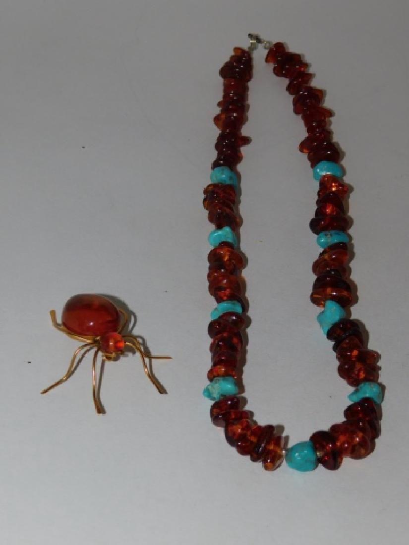 STERLING AND AMBER STONE NECKLACE WITH PIN - 3