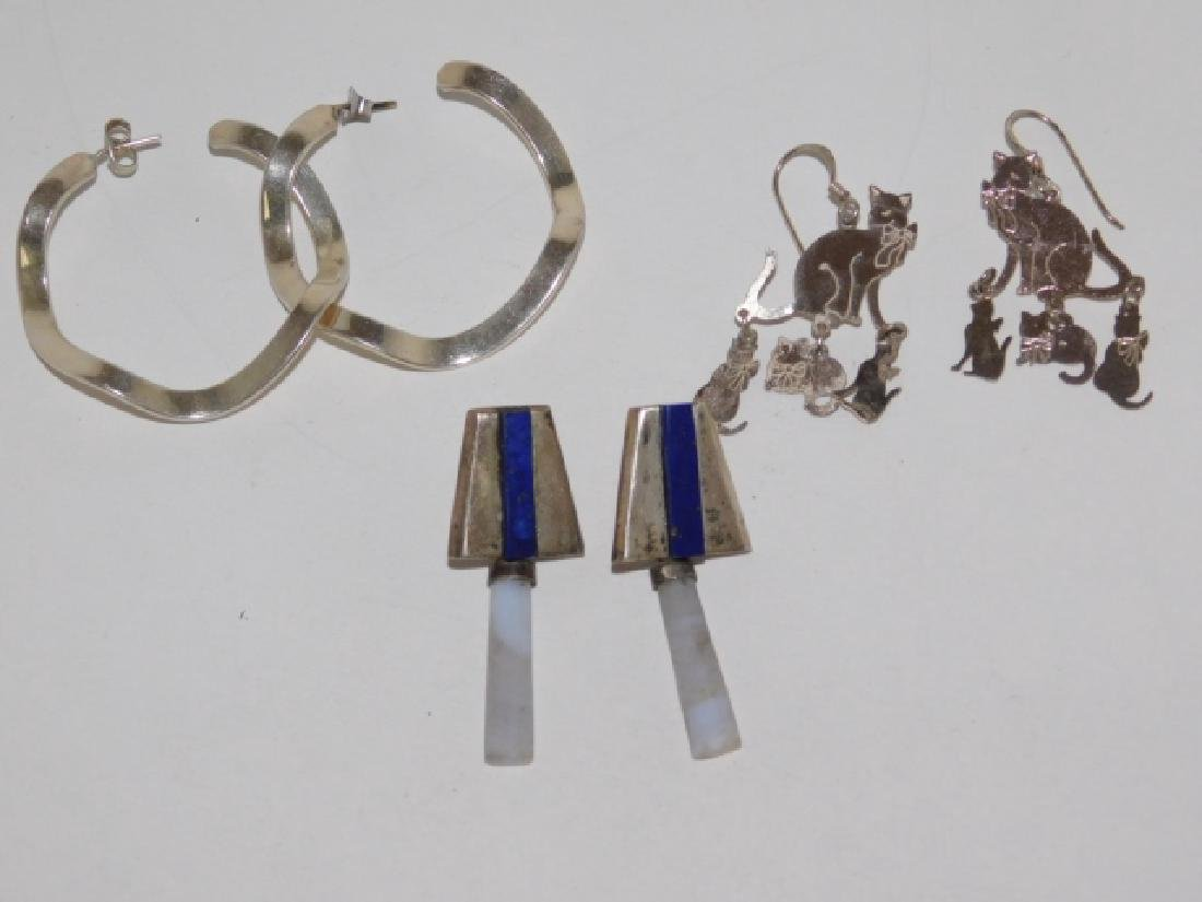 THREE PAIRS OF STERLING SILVER EARRINGS
