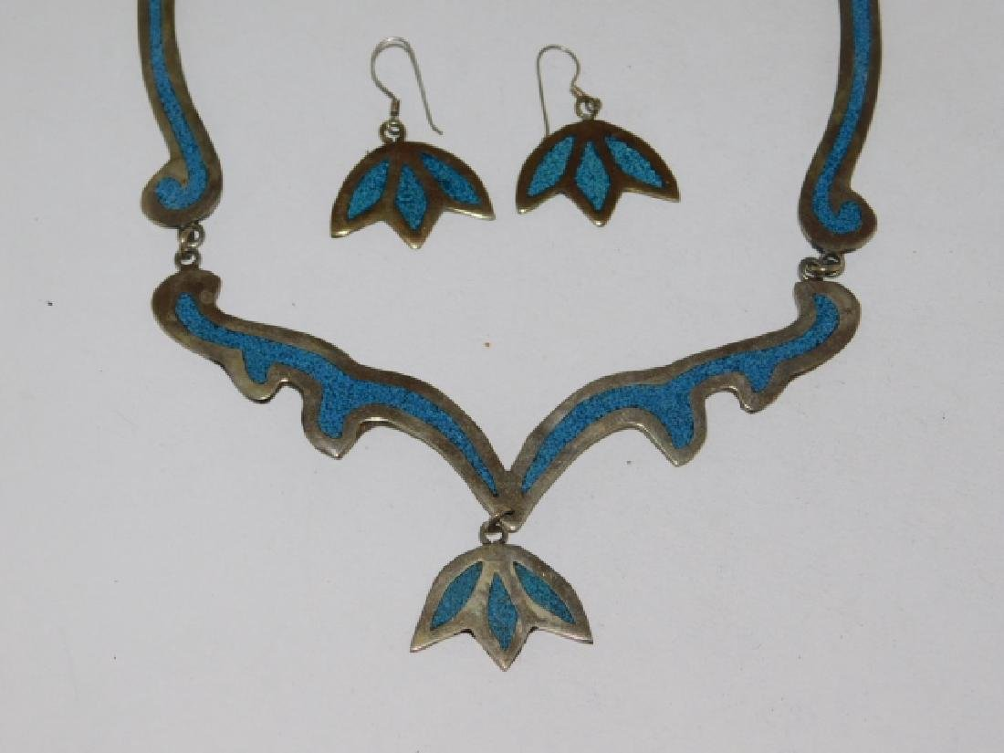 MEXICAN STERLING SILVER NECKLACE AND EARRING SET