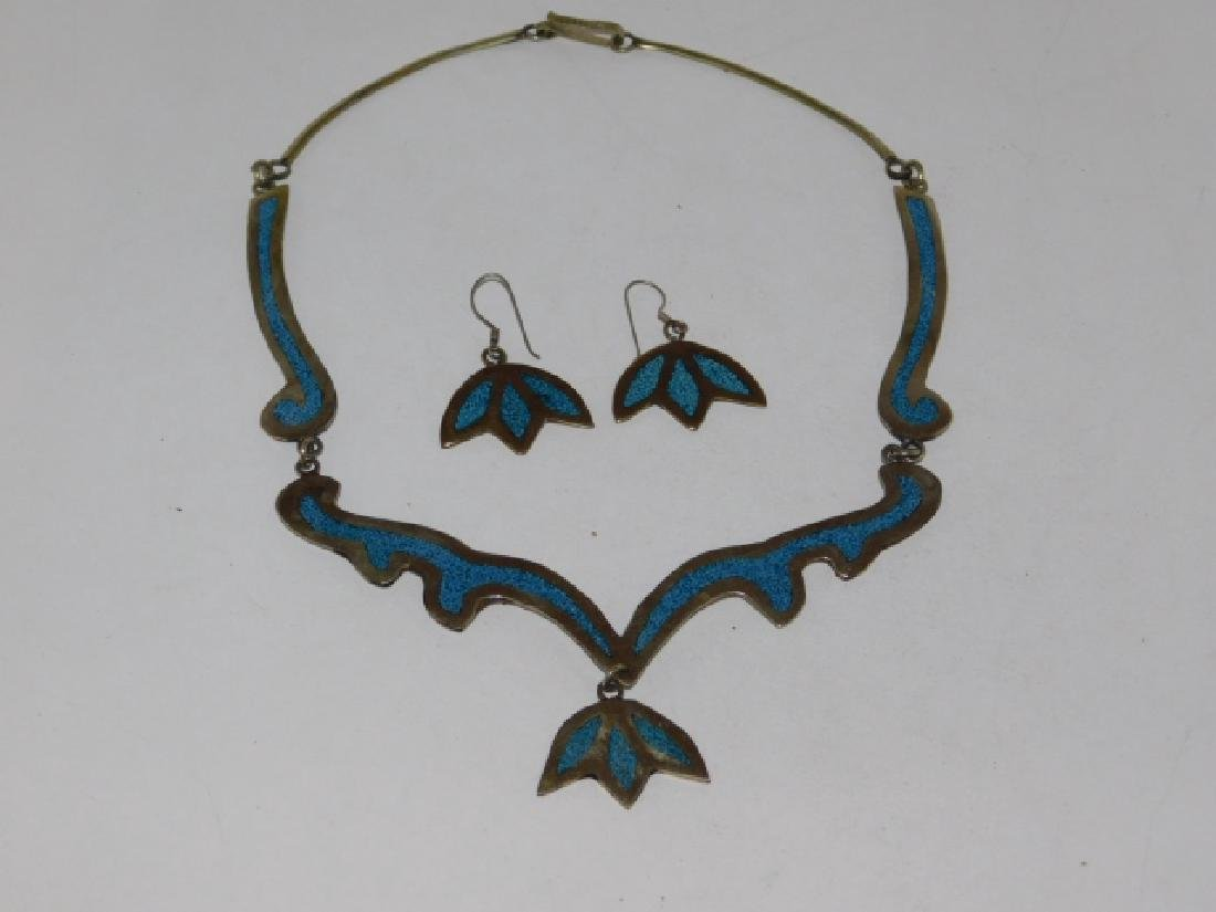 MEXICAN STERLING SILVER NECKLACE AND EARRING SET - 2