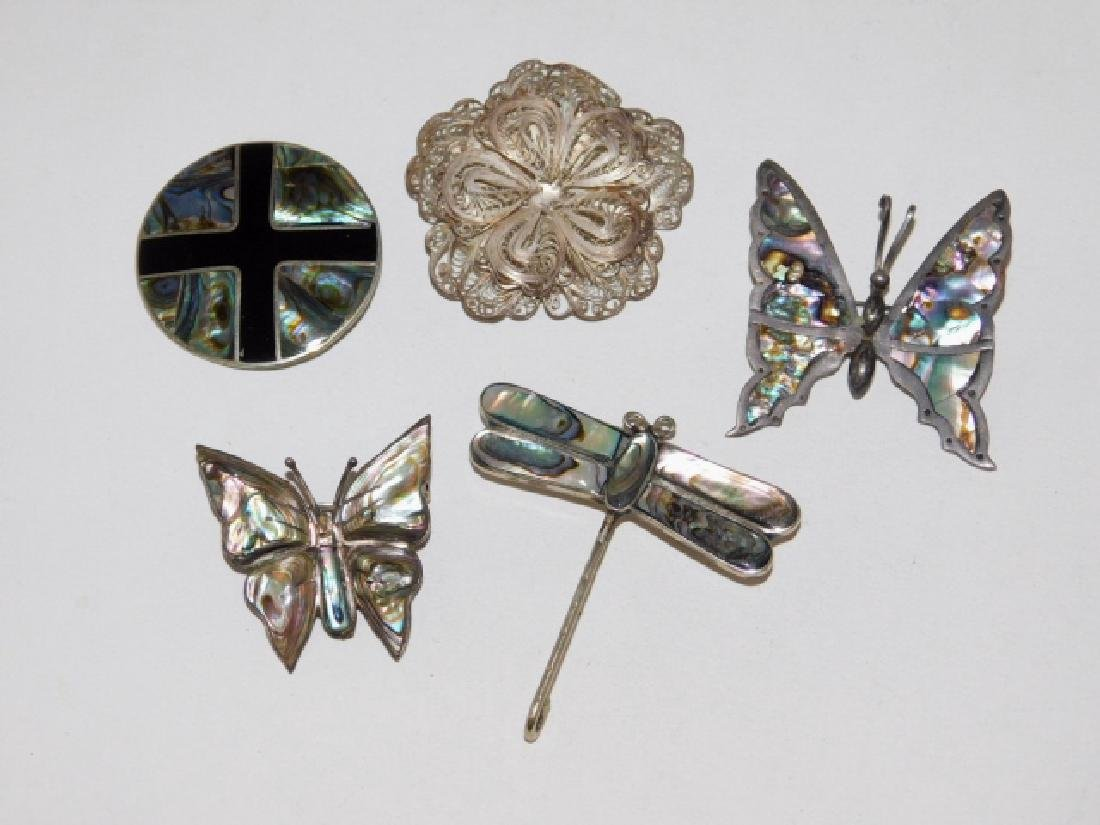 FIVE MEXICAN STERLING SILVER PINS