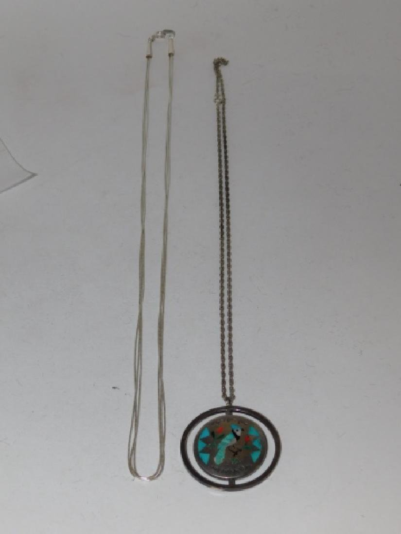 TWO STERLING SILVER NECKLACES - 2