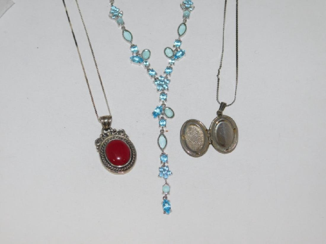 THREE STERLING SILVER NECKLACES - 3
