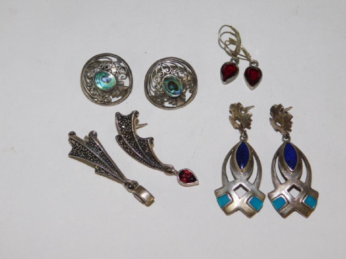 FOUR PAIRS OF STERLING SILVER EARRINGS.
