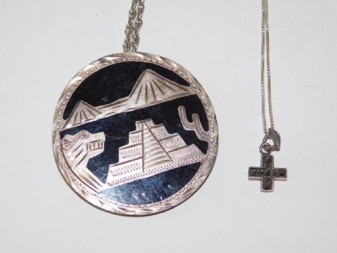 TWO STERLING SILVER NECKLACES WITH PENDANTS