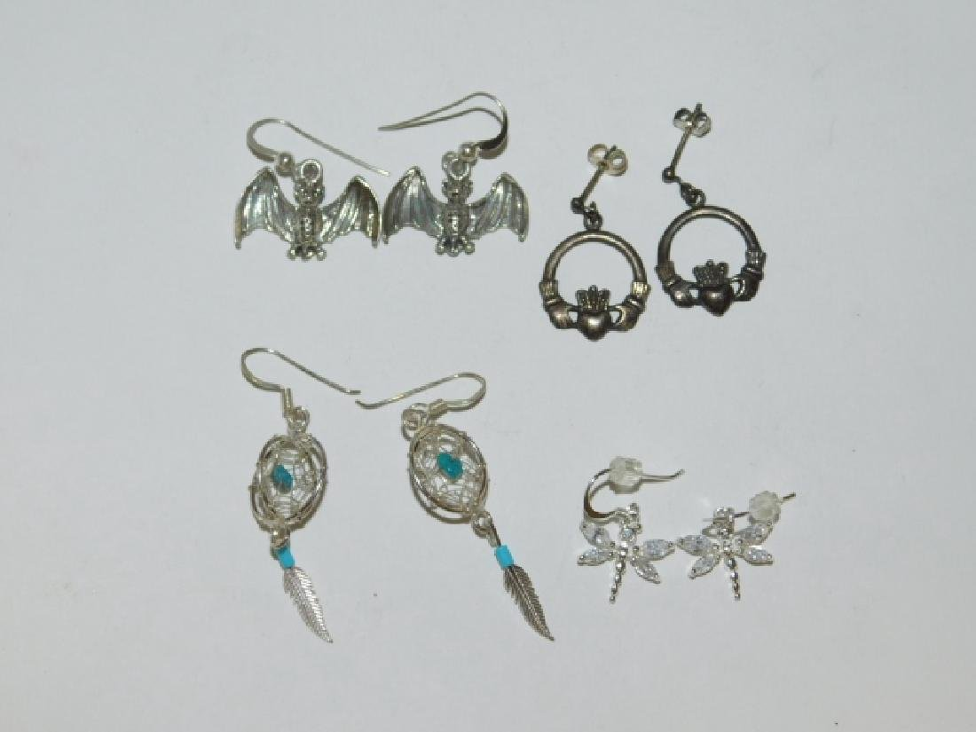 FOUR PAIRS OF STERLING SILVER EARRINGS - 2