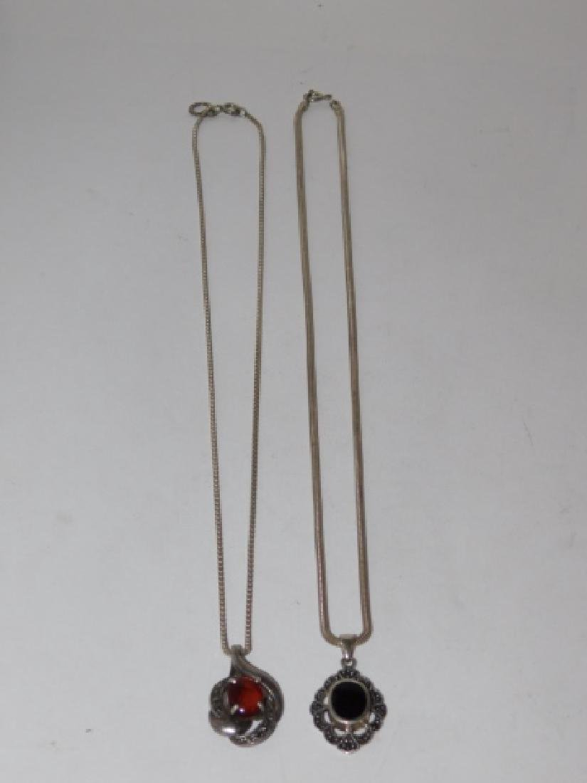 TWO STERLING SILVER NECKLACES WITH PENDANTS - 2