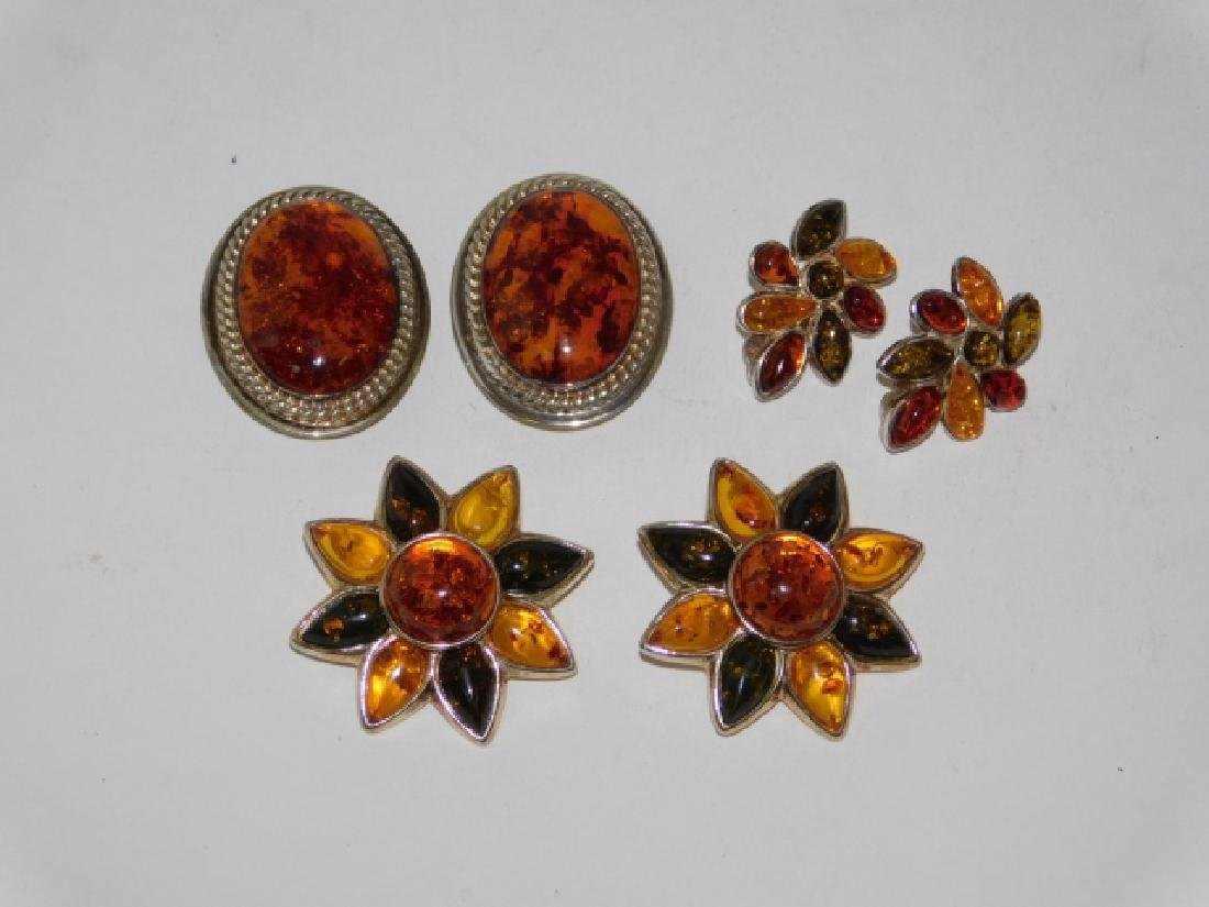 THREE PAIRS OF STERLING SILVER WITH AMBER EARRINGS