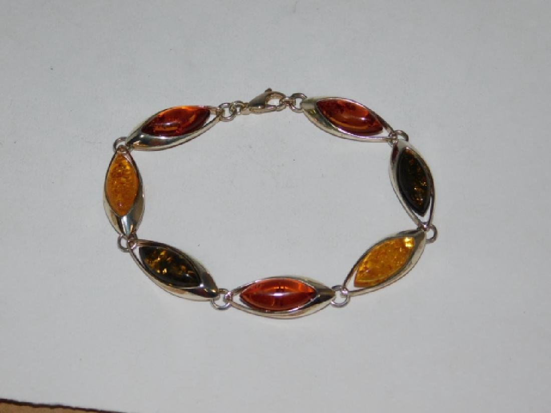 STERLING SILVER WITH AMBER STONE BRACELET