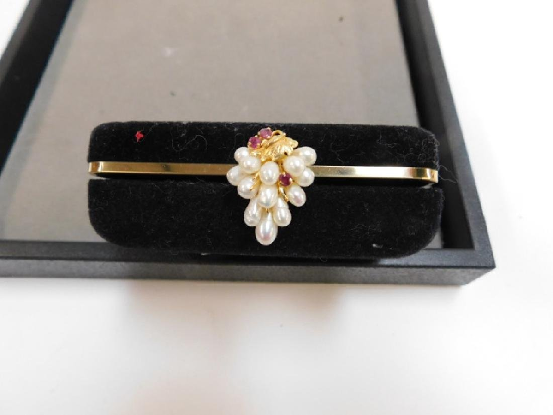 14K GOLD PEARL RING WITH RUBIES